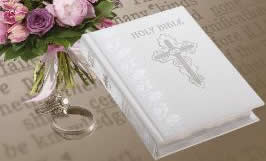 Personalized White Leather Catholic Wedding Bible